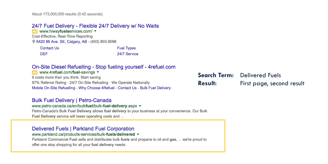 Search Engine Optimization Results for Parkland Fuel