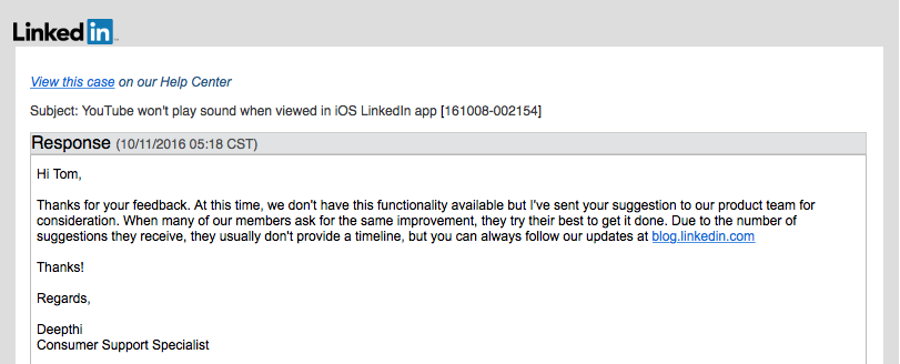 LinkedIn's response to YouTube embed issues